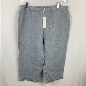 Eileen Fisher Yarn Dyed Organic Handkerchief Linen Ankle Pant Chambray XL NWT